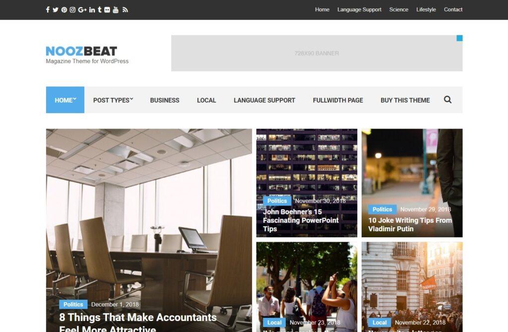 Noozbeat WordPress Theme for Minimalist Magazines