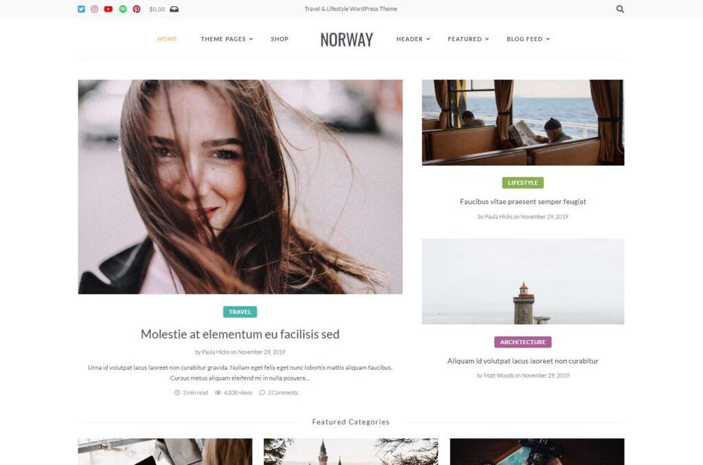 Norway Travel Blog WordPress Theme Preview ThemeForest