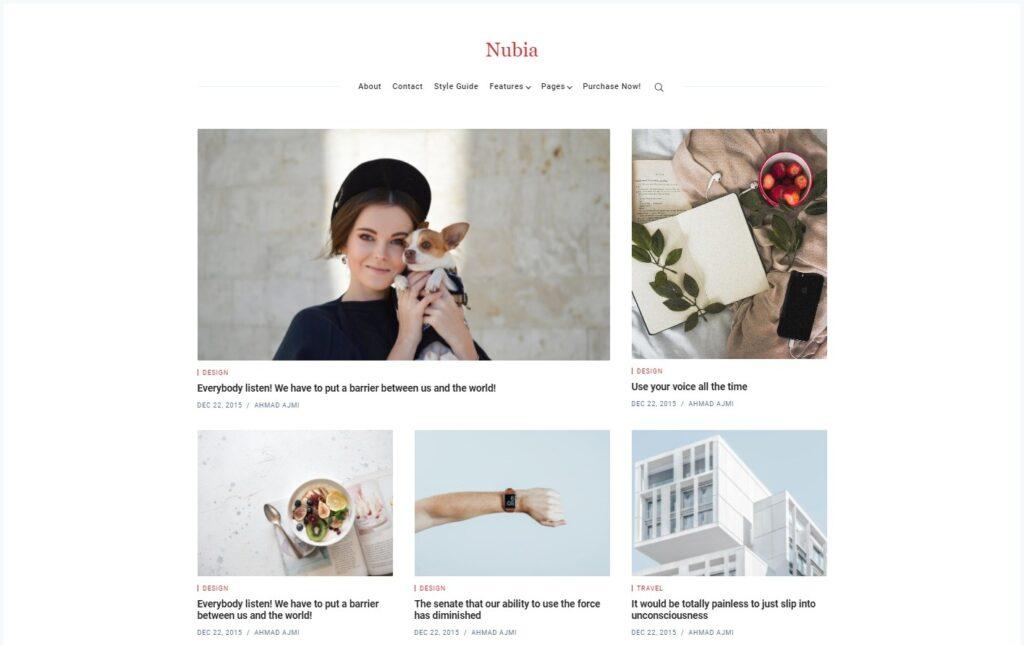 Nubia Minimal Blog and Magazine WordPress Theme