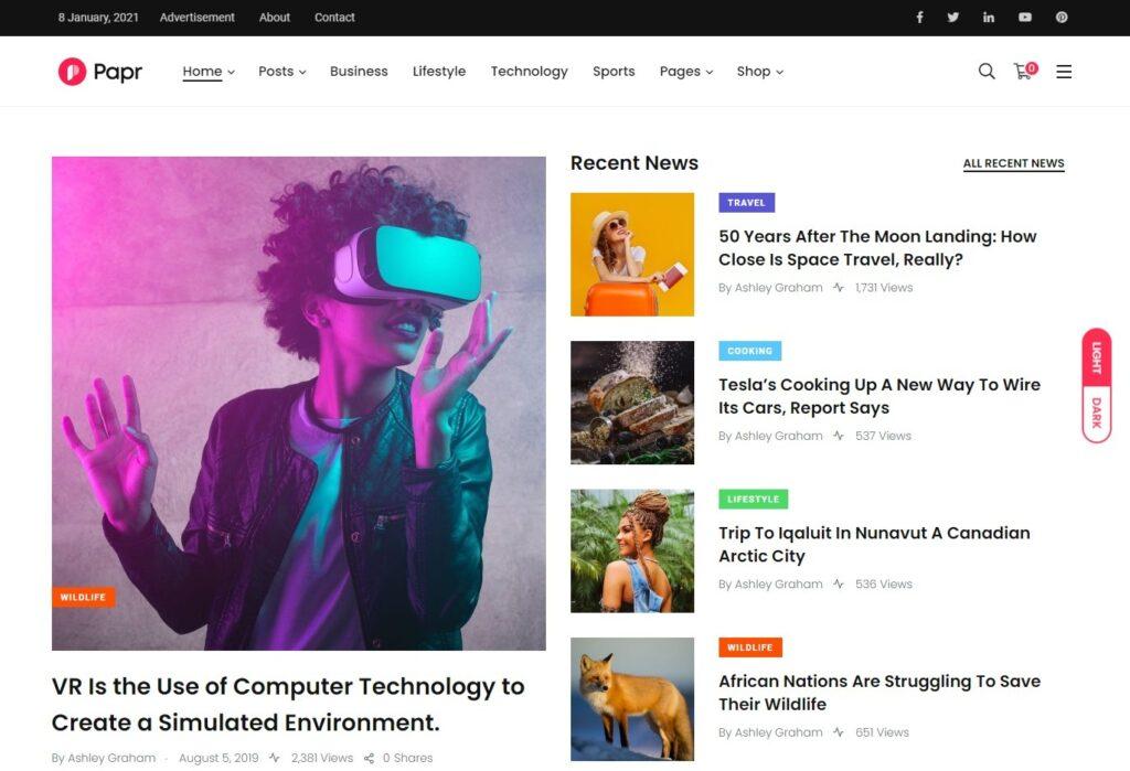 Papr – News Website WordPress Theme