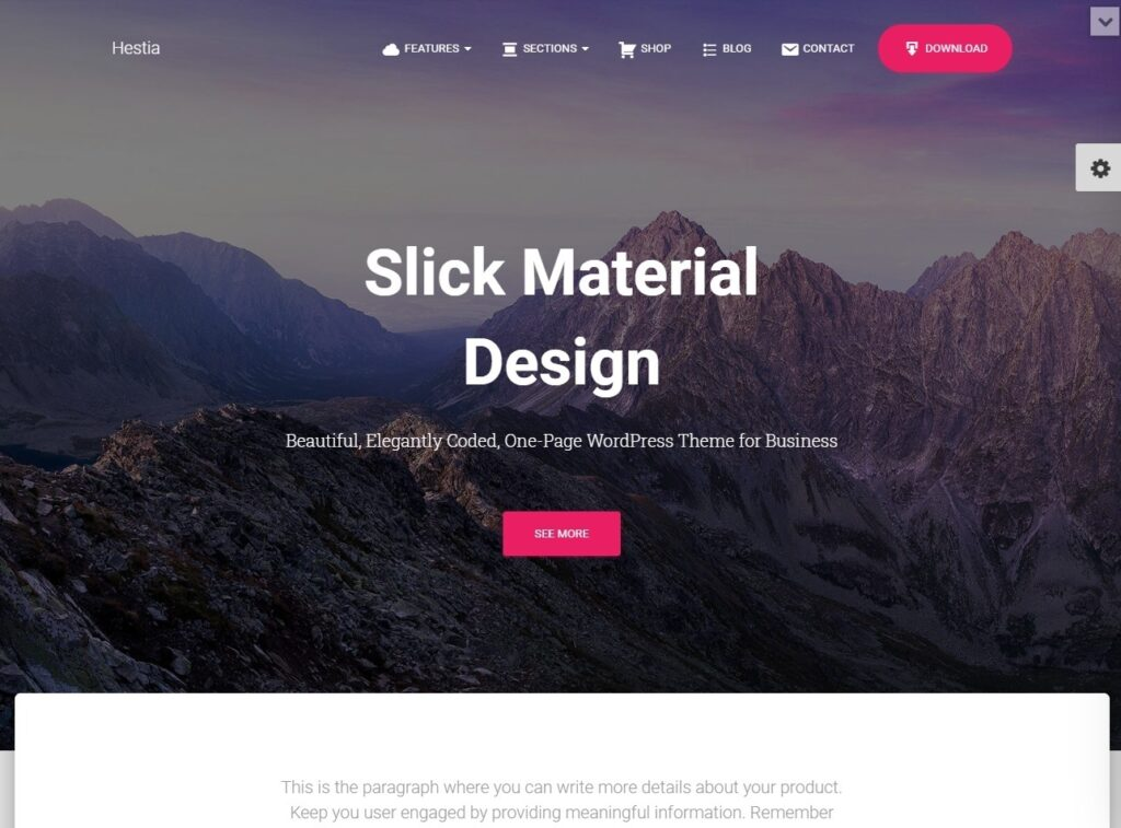 Hestia Pro Slick Material Design Theme with WooCommerce