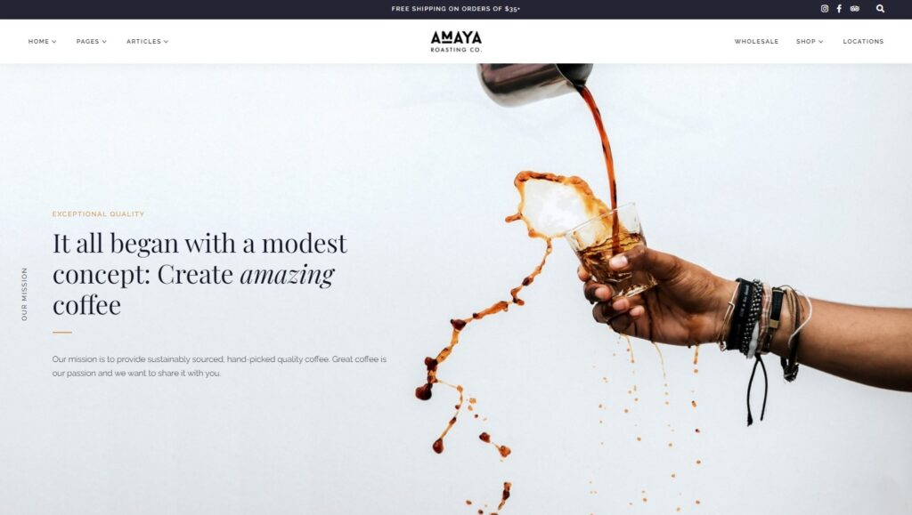 Amaya Coffee Shop WordPress Theme