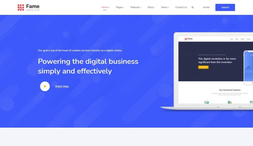 Fame Digital Technology Service WordPress Theme