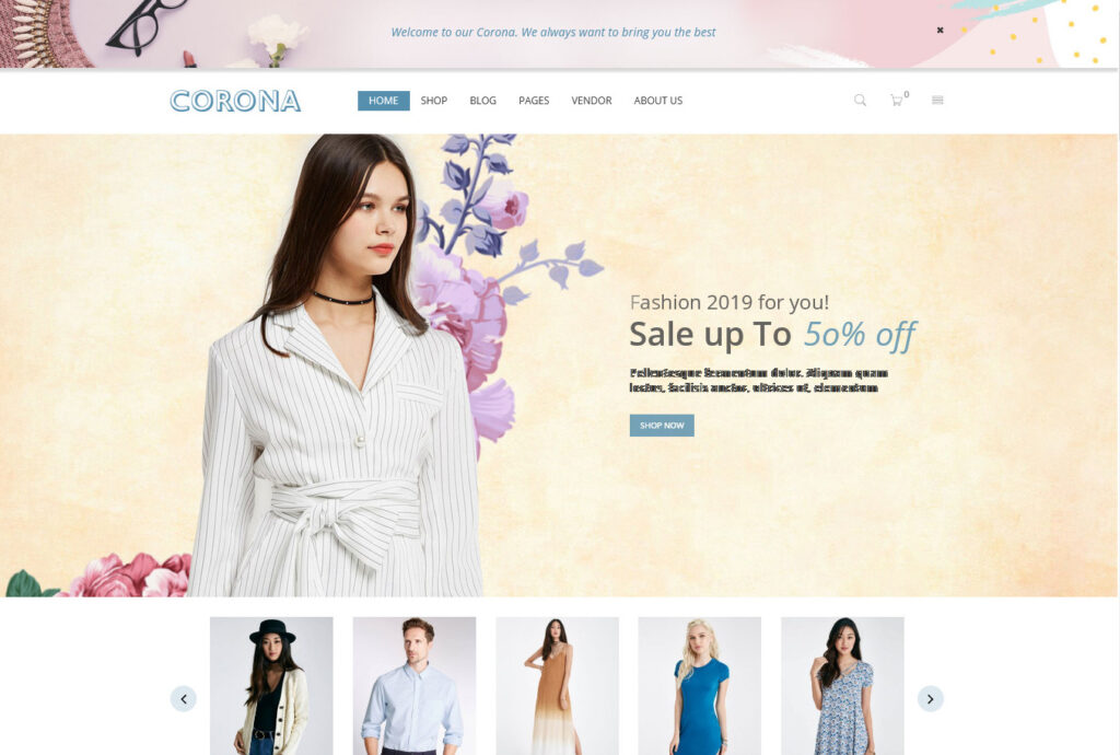 Corona – Theme for T Shirt Shops and Stores