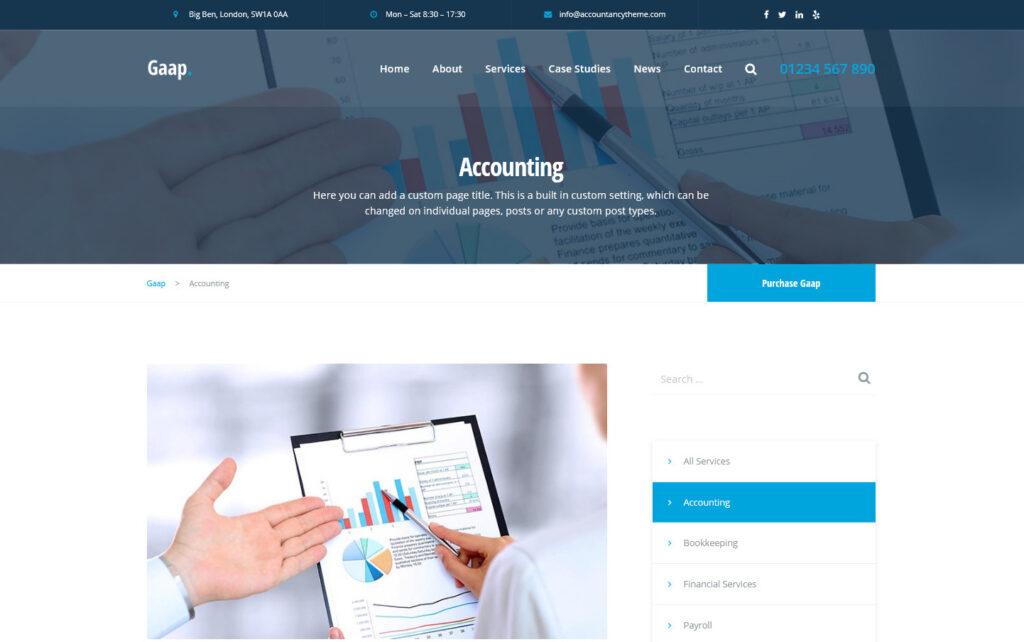 Gaap WordPress Theme for Accounting Agencies