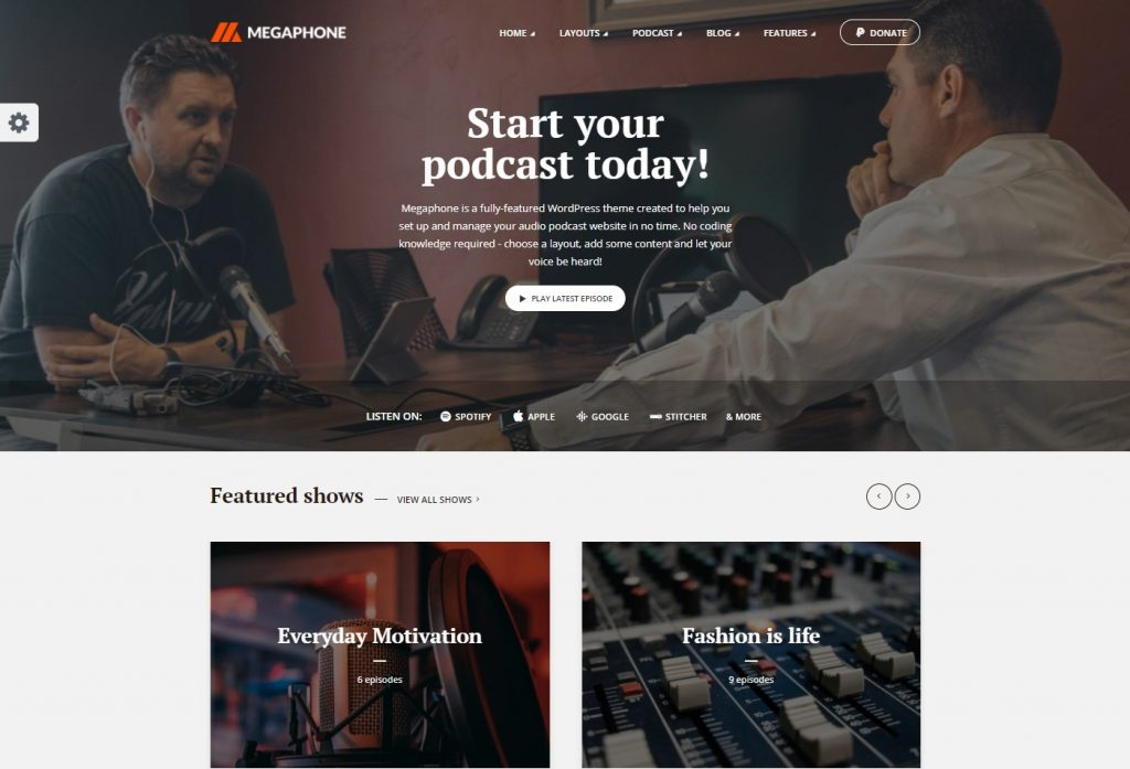 Megaphone Audio Podcast WordPress Theme