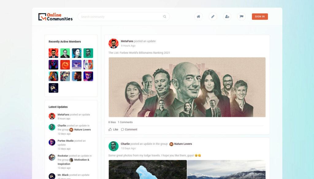 MetaFans Community Social Network BuddyPress Theme