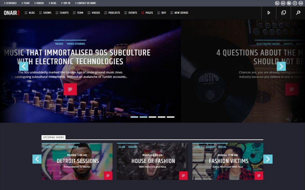 Onair2 Radio Station WordPress Theme With Non Stop Music Player