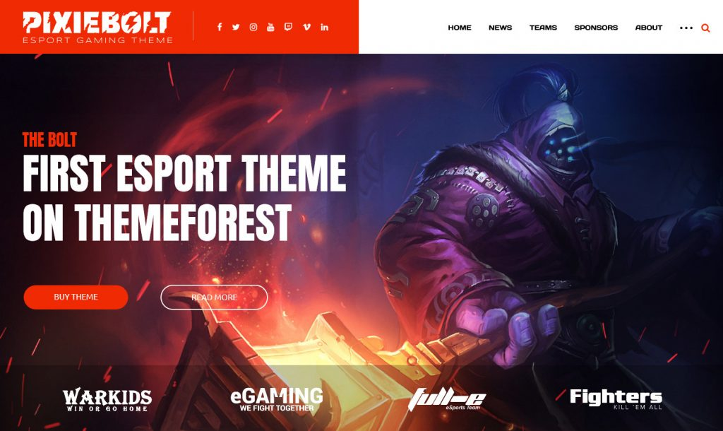 PixieBolt eSports gaming theme for clans organization