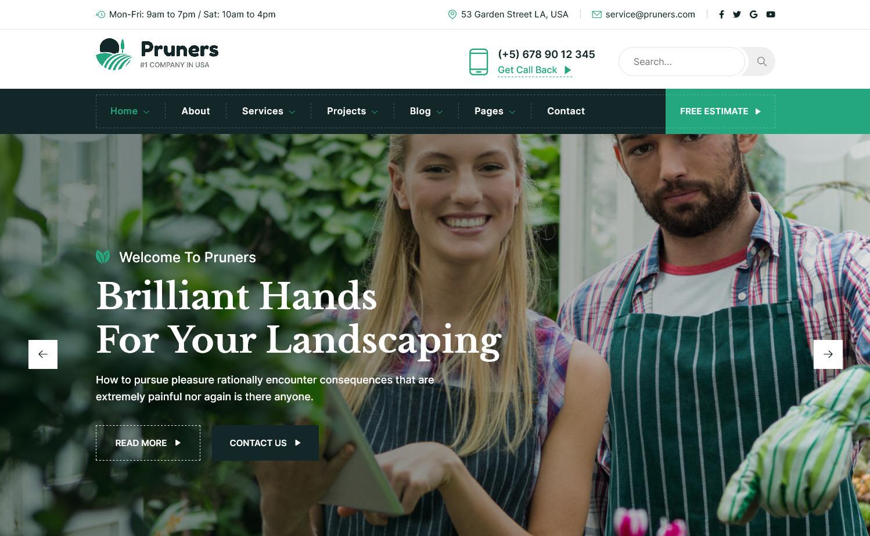 Pruners Gardening Center WordPress Theme