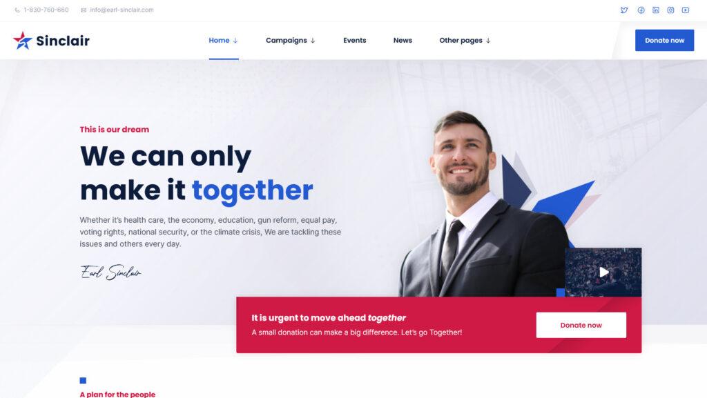 Sinclair Political Fundraising Donations WordPress Theme