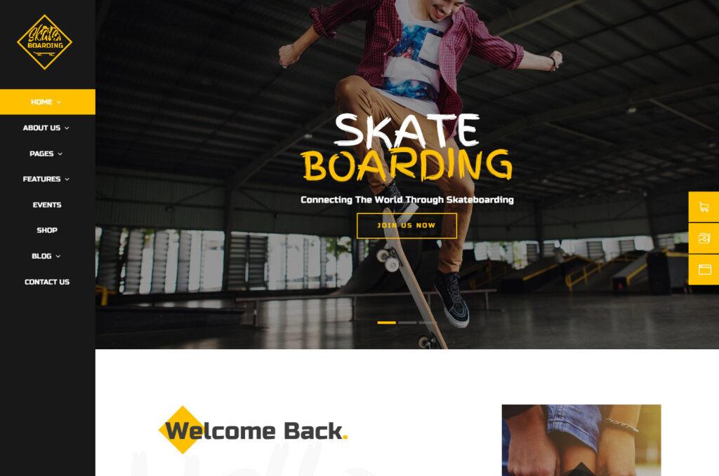 Skateboarding Sidewalk Surfing WordPress Theme