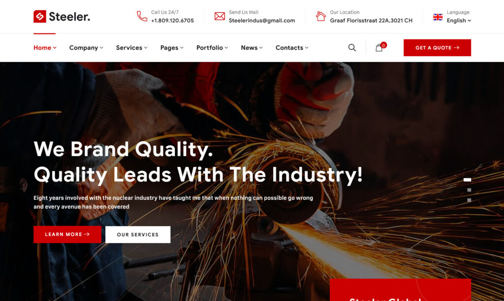 Steeler – Factory and Industrial WordPress Theme