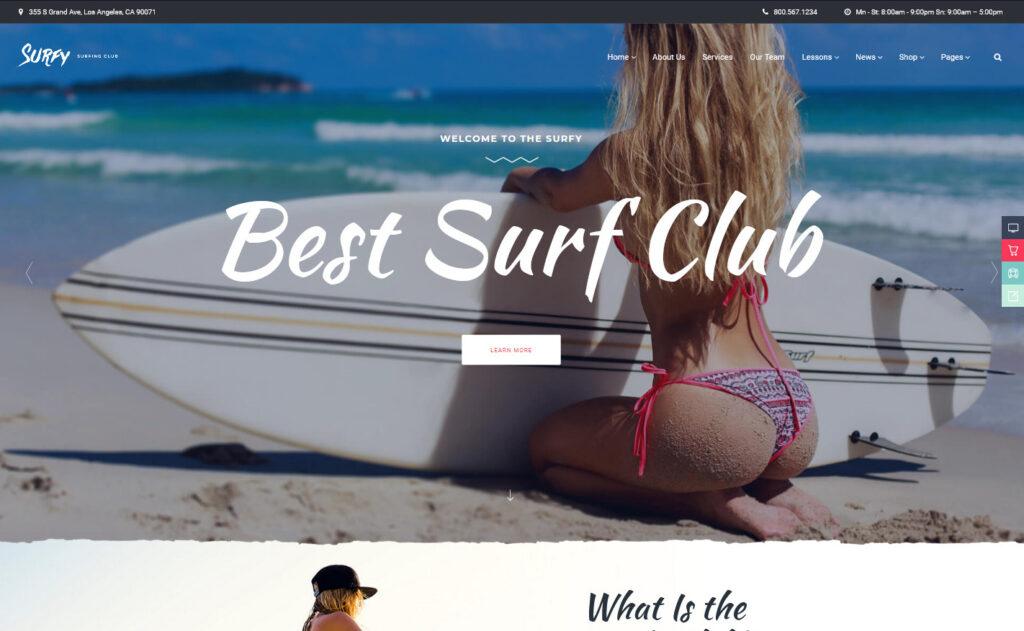 Surfy Surfing and Water Sports Preview ThemeForest
