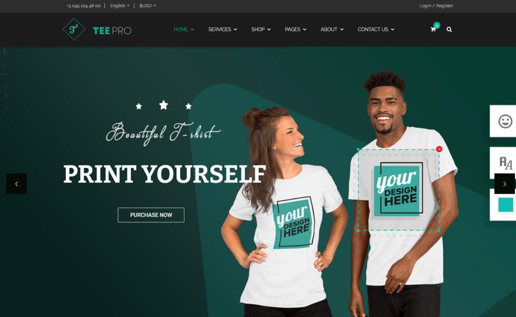 TEEPRO – Woocommerce Custom T Shirt Designer WordPress Theme