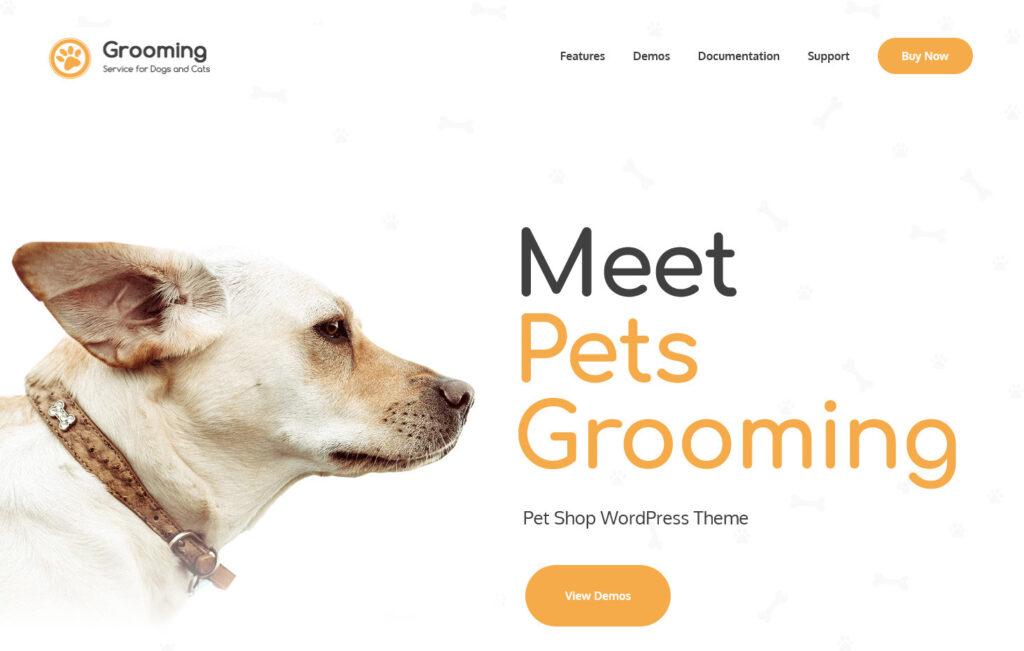 Grooming Pet Shop Veterinary Physician WordPress Theme