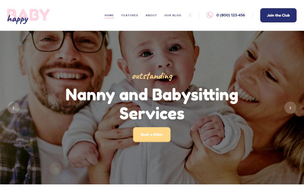 Happy Baby – Babysitter and Childcare WordPress Theme