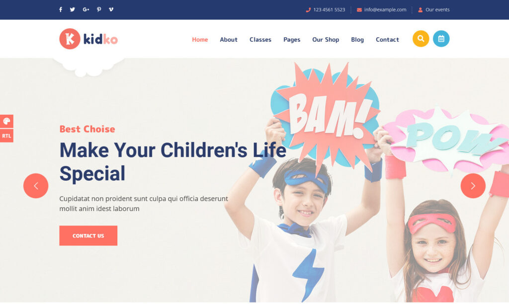 Kidko Daycare and Childcare WordPress Theme