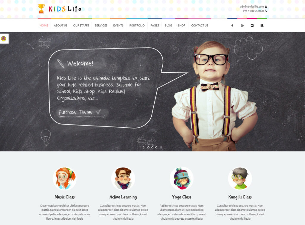 Kids Life Childrens Education and Daycare Thme