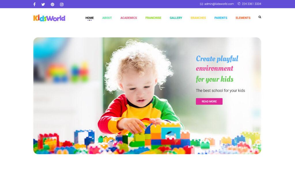 Kids World WordPress Daycare Themes