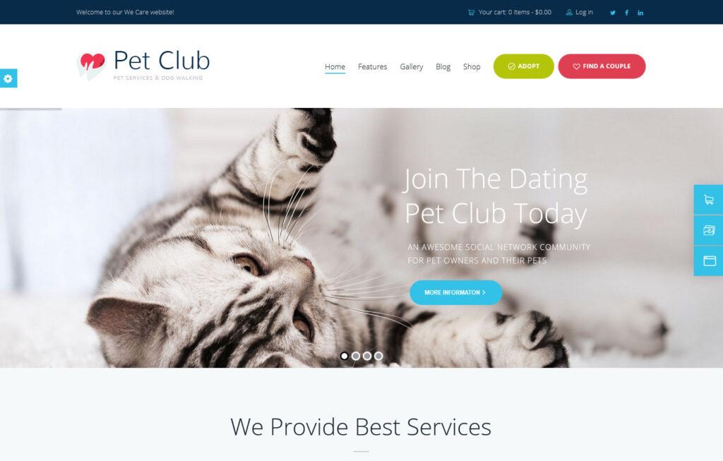 Pets Club Pet Shop Breeding Veterinary WordPress Theme