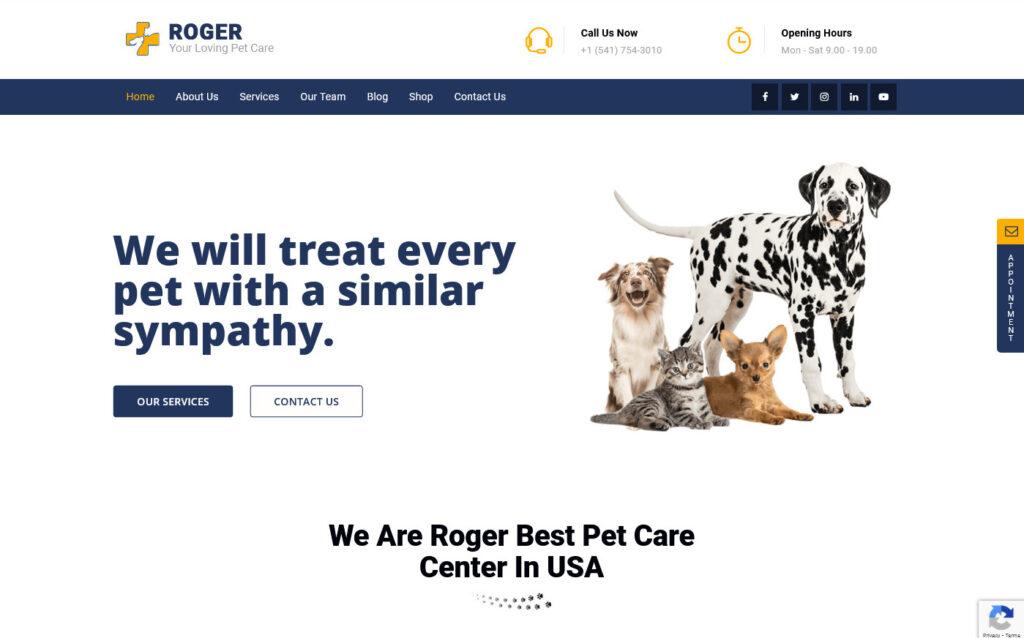 Roger Pet Care WordPress Theme Preview