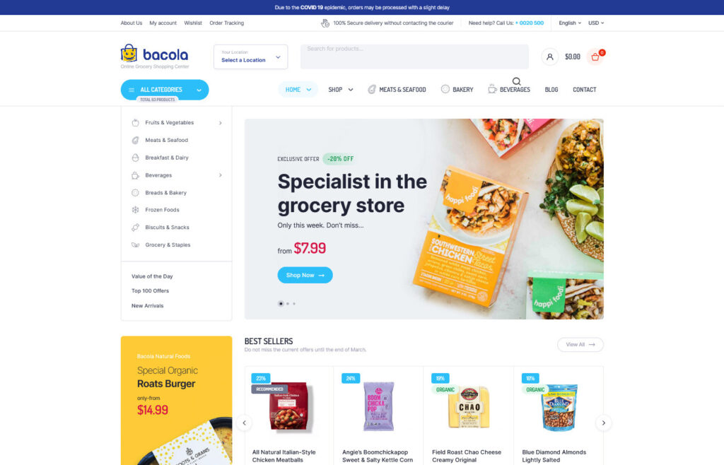Bacola Grocery Store and Food eCommerce Theme