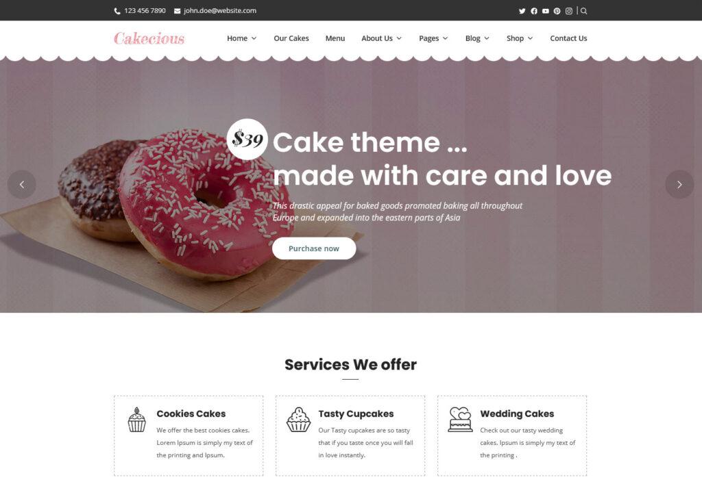 Cakecious Cake Bakery Food WordPress Theme