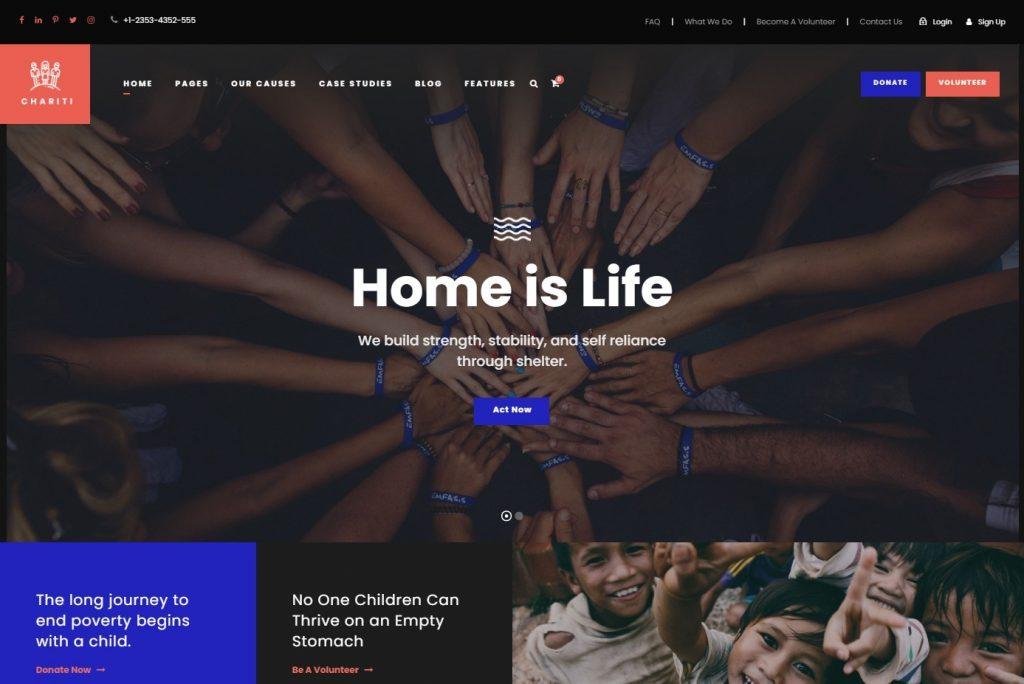 Chariti Charity and Online Donations WordPress Theme