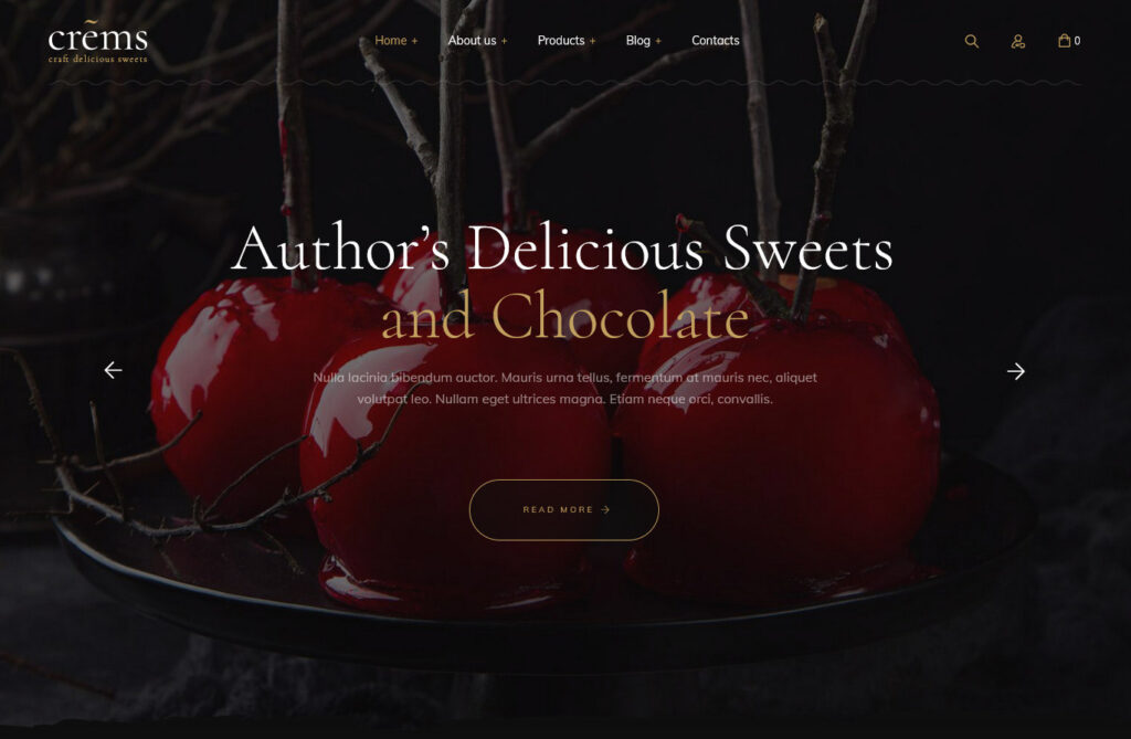 Crems Bakery Chocolate Sweets Pastry WordPress Theme
