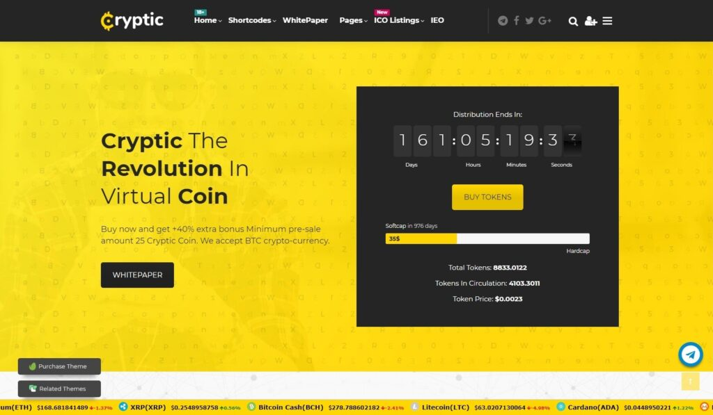 Cryptic WordPress Cryptocurrency Theme