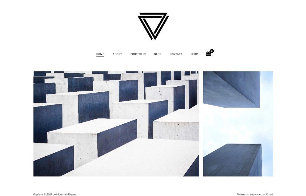 Elysium Black and White Minimal WordPress Portfolio Theme