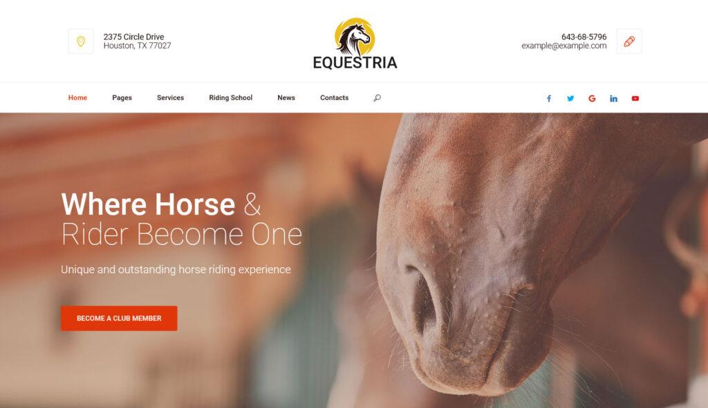 Equestria Horse Riding Club WordPress Theme