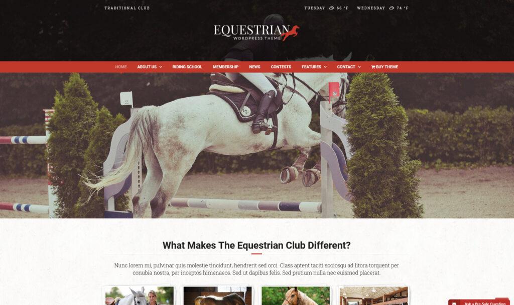 Equestrian WordPress Theme Traditional Club