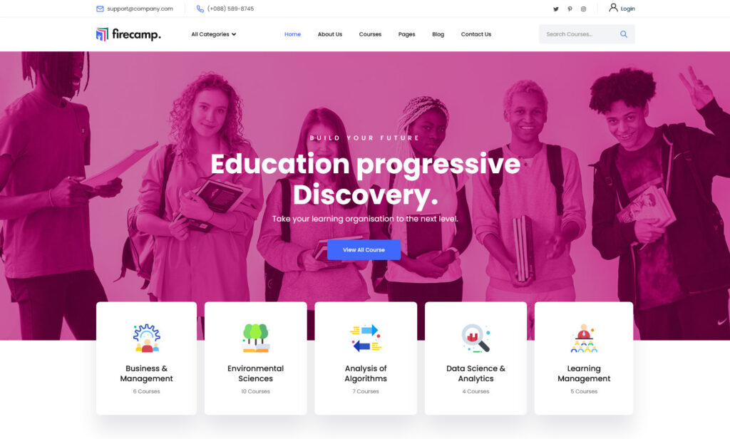 Firecamp – Online Courses and LMS Education WordPress Theme