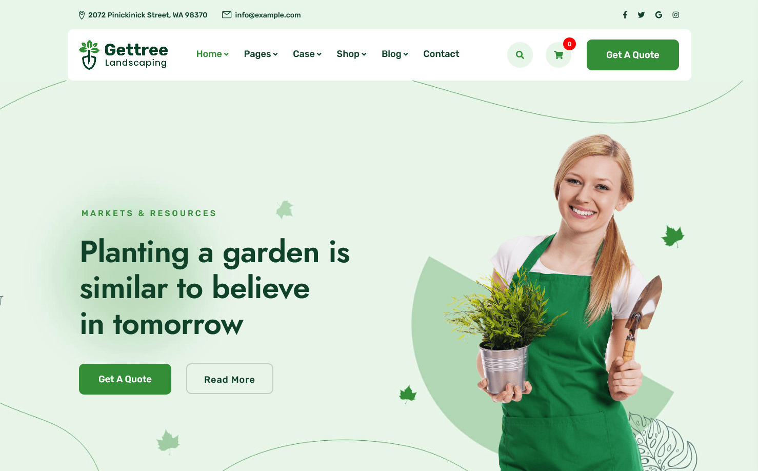 Gettree Garden Landscaping WordPress Theme