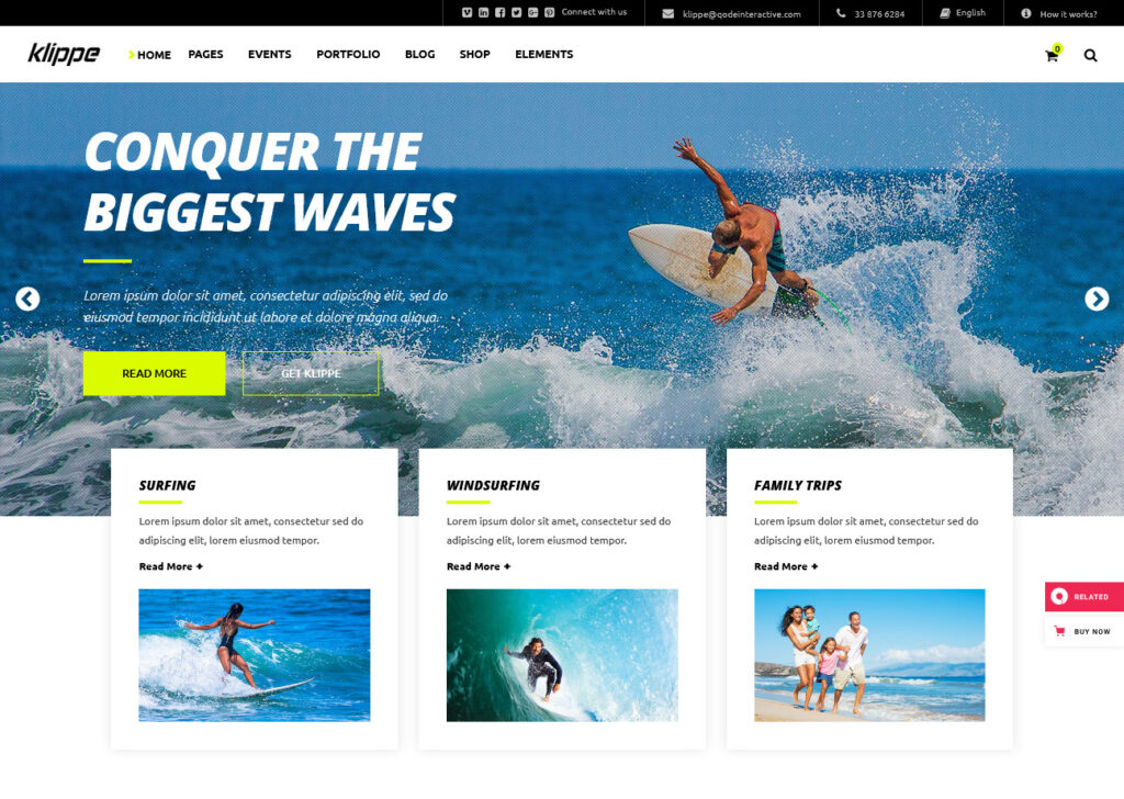 Klippe – An Extreme Sports Adventure and Travel Theme