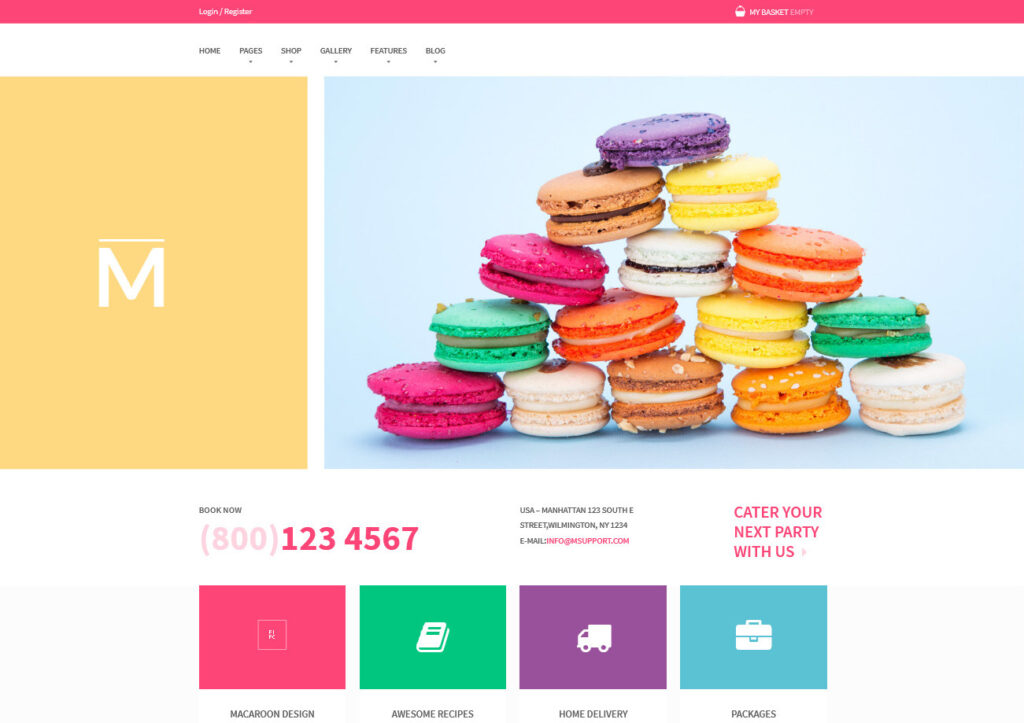 Macaroon Colorful WooCommerce Theme for Sweets Shop