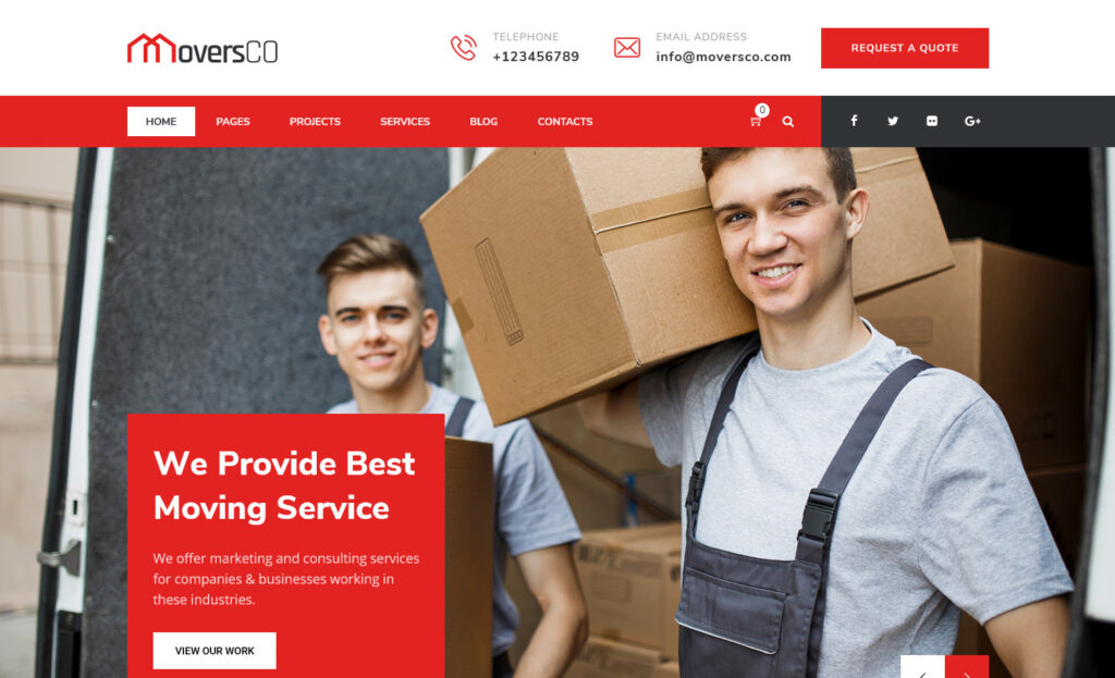 MoversCO InfosStack – Movers Relocation Transport Packers WordPress Theme