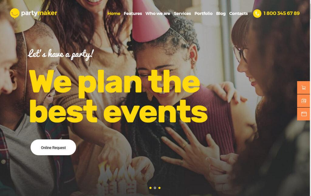 PartyMaker Event Planner Wedding Agency WordPress Theme