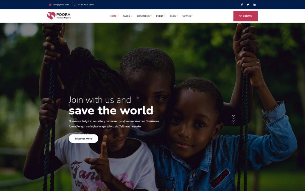 Poora Fundraising Charity WordPress Theme Preview