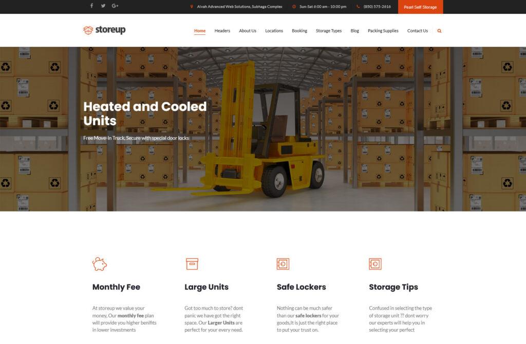 StoreUp – Self Storage Facilities WordPress Theme