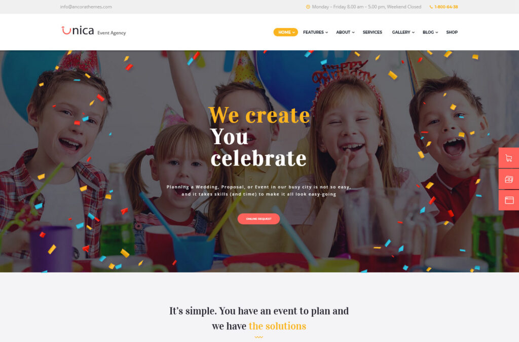 Unica Event Planning Birthday Wedding Agency WordPress Theme