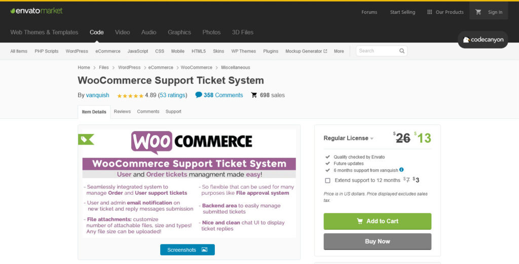 WooCommerce Support Ticket System by vanquish CodeCanyon