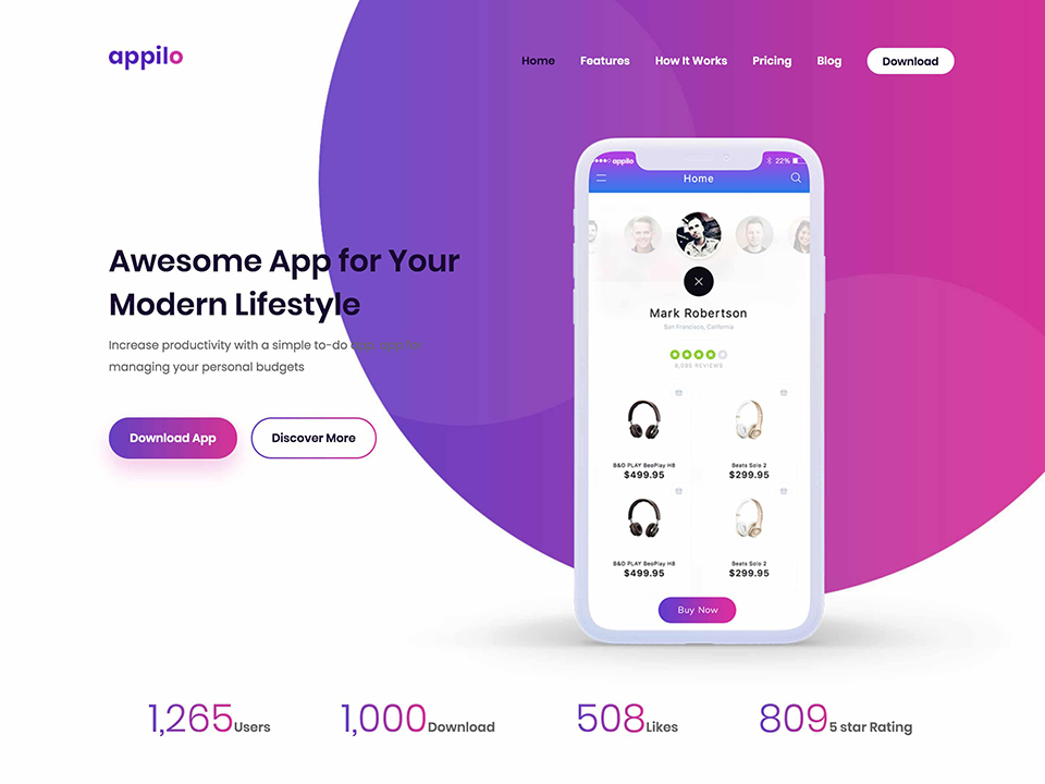 Appilo Applications Squeeze Page WordPress Theme