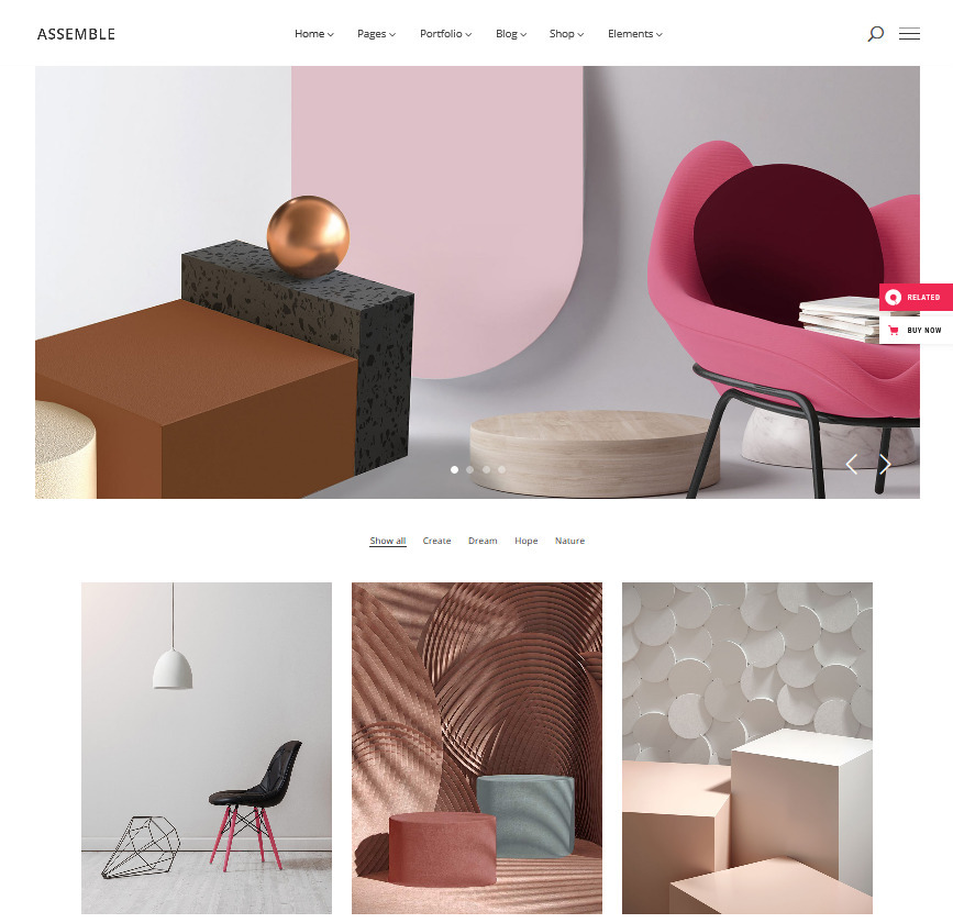 Assemble Creative Agency Grid WordPress Portfolio Theme