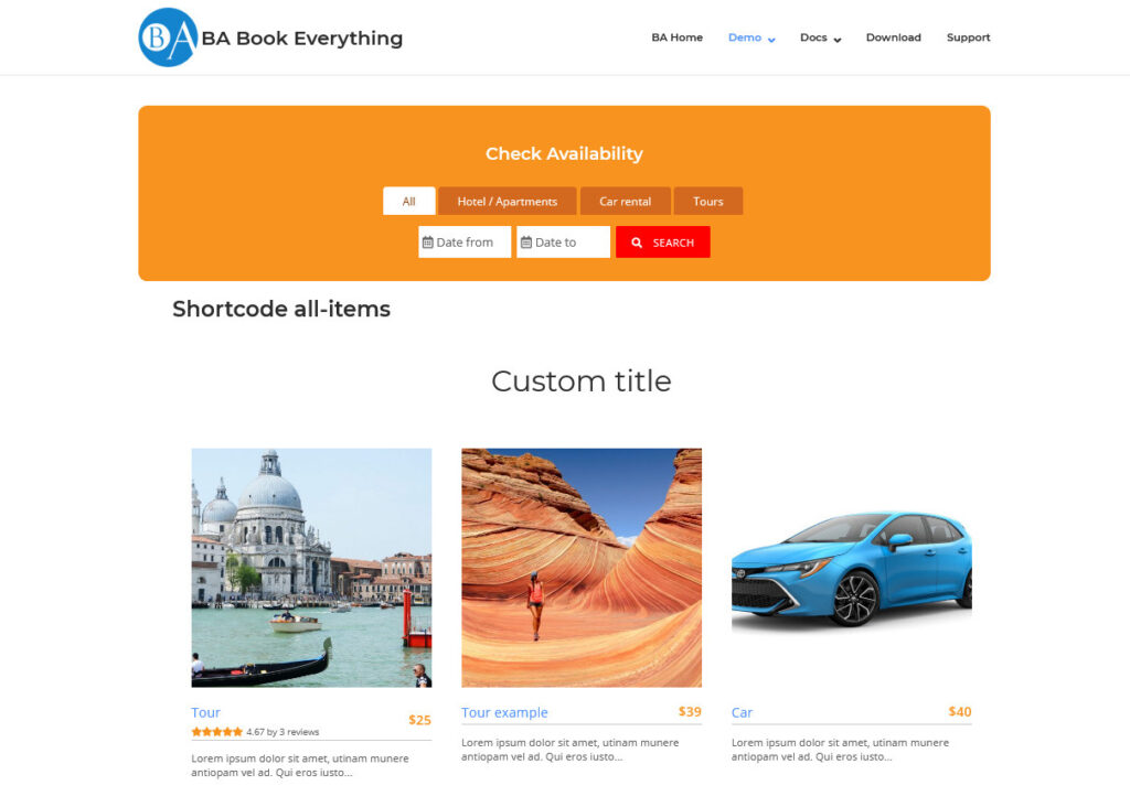BA Book Everything Travel Booking Plugin for WordPress
