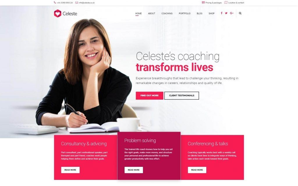 Celeste Life Coach Therapist and Counseling Theme