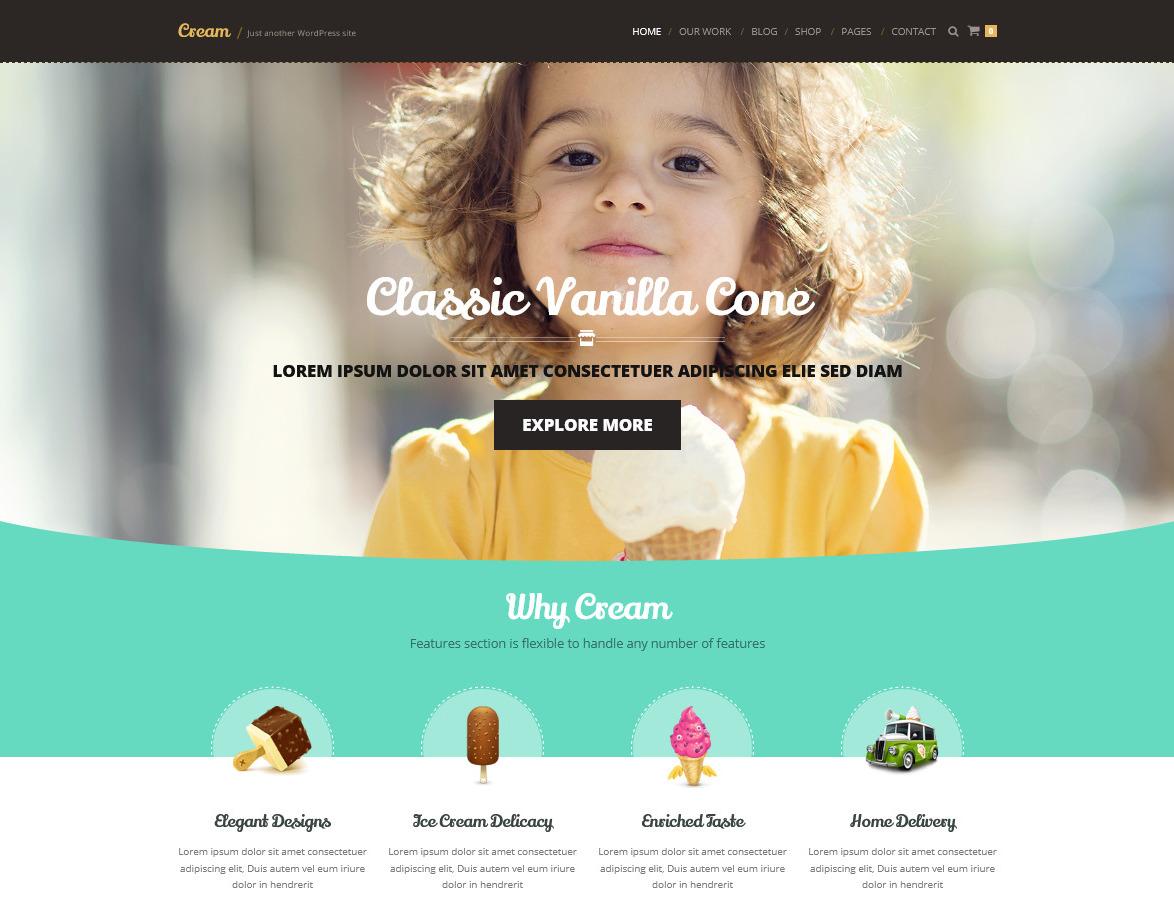 Cream WordPress Theme for Ice Cream and Cake Shops
