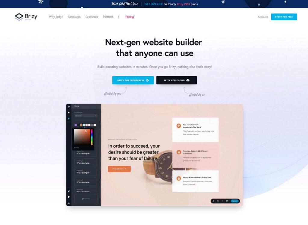 Easiest WordPress Website Builder Brizy for Creative Agency
